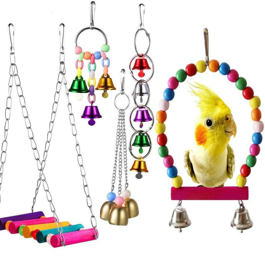 mAjglgE Juego de 5 Piezas de Juguete para Loro, Hamaca Colgante Colorida para pájaros, Loros, Escalera, Juego de Juguetes: Amazon.es: Productos para mascotas