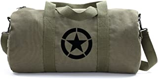 Army Force Gear WWII Military Jeep Invasion Star Duffel Shoulder Bag - Olive & Black, Large