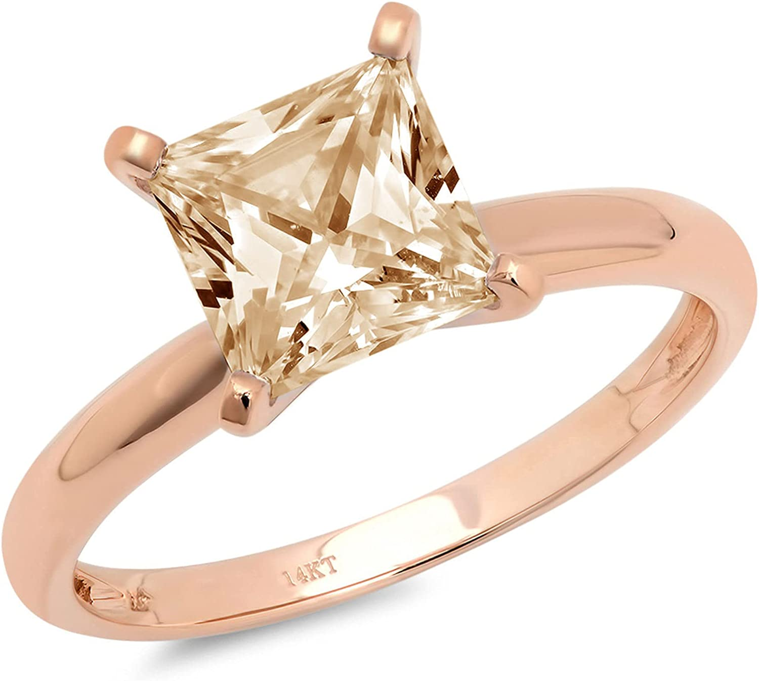 Clara Pucci 2.5 ct Brilliant Princess Cut Solitaire Natural Brown Morganite Gem 4-Prong Engagement Wedding Bridal Promise Anniversary Ring in Solid 18K Pink Rose Gold for Women