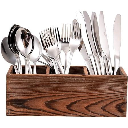 Organizador De Cubiertos De Madera 3 Compartimentos Espaciosos Para Espátula De Cocina Utensilios De Cocina Y Cubiertos Home Improvement