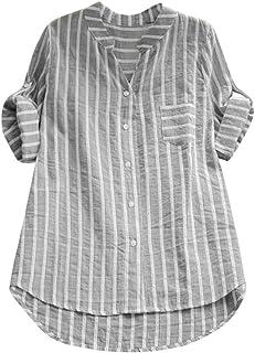 OverDose Damen Casual Frauen Stehkragen Langarm beiläufige lose Tunika Tops T Shirt Bluse Damen Sommer Herbst Langarmshirt Freizeit OberteileZ-a-SchwarzL