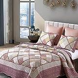 Topmail Blumenmuster Tagesdecke inkl. 1 Steppdecke 220 x 240 cm +2 Kissenbezug 50 x 70cm geeignet für das ganze Jahr,100% Polyester Atmungsaktive Gesteppte Decke (Pink)