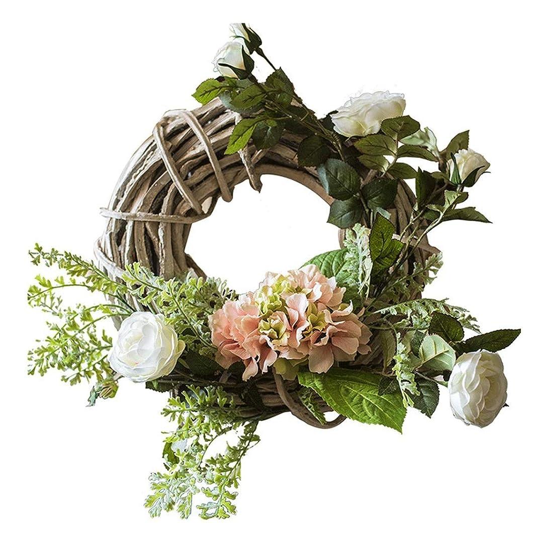 重要な役割を果たす、中心的な手段となる儀式連鎖装飾品 ホームパーティーウィンドウウォールウェディングパーティーの装飾のためのハンドメイドの20インチ農家の花輪ナチュラルリングベースの人工アジサイローズ前面ドアの花輪クリスマスガーランド クリスマス