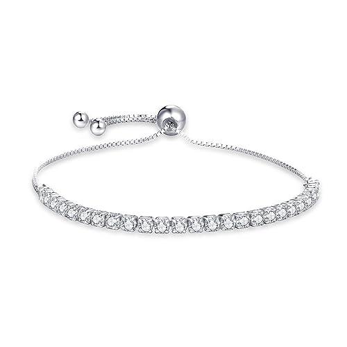 4b4107909bb doux baiser Ladies Silver Bracelets, 925 Sterling Silver Tennis Bracelet,  Diamond Cut 5A CZ