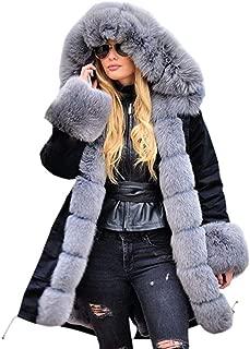 Womens Jacket Winter Long Sleeves Faux Fur Winter Hooded Fishtail Overcoat Coat Parka Fashion Warm Outwear Daorokanduhp