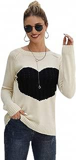 SweatyRocks Women's Casual Long Sleeve Crew Neck Heart Cable Knit Sweater Tops