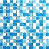 10 vetro mosaico piastrelle opaca in blu e bianco. 10 tappetini sono 1, 07qm. MT0106 m2