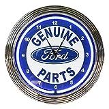 壁掛け 時計 ネオンクロック FORD GENUIN PARTS フォード純正パーツ ブルーネオン 直径38cm アメ車 ガレージ ネオン管 アメリカ雑貨