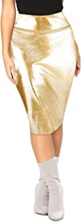 Women's Faux Leather Midi Bodycon Pencil Skirt