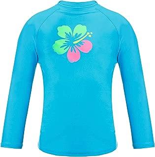 DAYU Girls' Flower Long Sleeve Rashguard