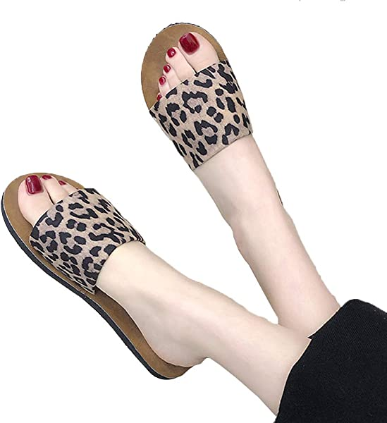 2019 Hot Women S Leopard Flat Bottomed Slippers Open Toe Fashion Summer Shoes Beach Shoes