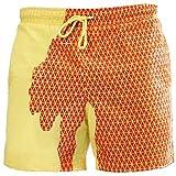 Viloree - Costume da bagno da uomo che cambia colore e cambia colore Giallo a quadretti fino al giallo. L