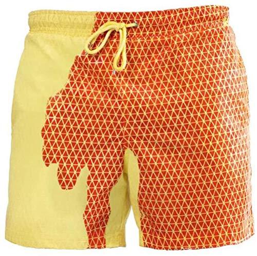 Viloree - Bañador para hombre, con colores cambiantes, con cambio de color, sensibles a la temperatura, pantalón corto de baño para verano, naranja y amarillo, 3XL