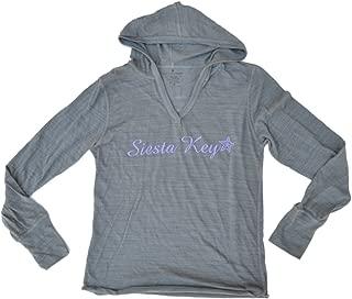 Siesta Key, Florida SAAG Women Gray Tri-Blend Long Sleeve Hooded T-Shirt