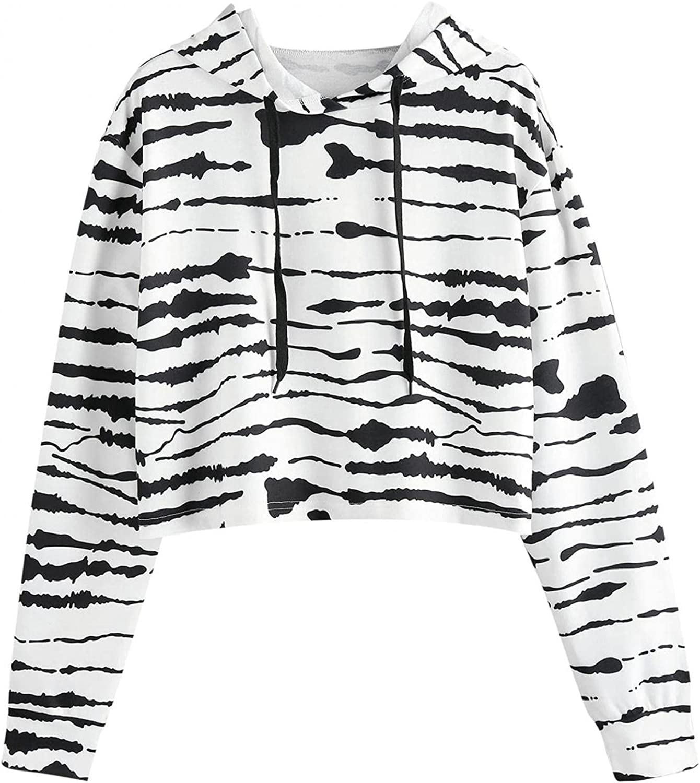 Leirke Women's Hoodies Splice Crop Top Cute Tie Dyed Casual Long Sleeve Cropped Sweatshirts Pullover Tops for Teen Girls
