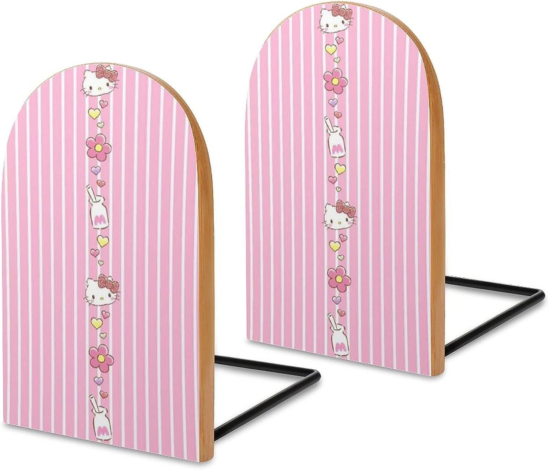 KRISMARIO Milk Hello Kitty 2pcs Heavy Wood Logs Bookends Modern