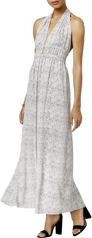 Bar III Women's Printed Halter Maxi Dress White Combo XXS