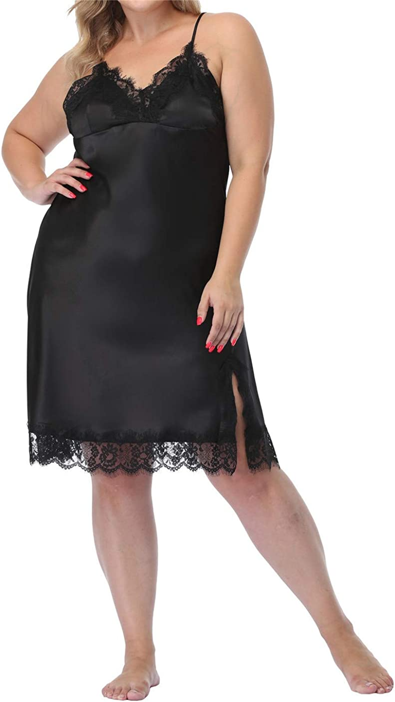 Women's Plus Size Full Slips Lace Chemise Lingeries Sexy Front Slit Negligees Silky Nightgown Sleepwear