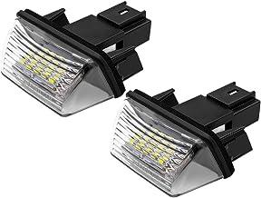 Safego Luz de matrícula LED para Coche Lámpara Número Placa Luces 3014 SMD 6000K Xenón Blanco para Peu-geot 206 207 306 307 308 406 407 5008 Partner etc, 2 Piezas, 1 año de Garantía