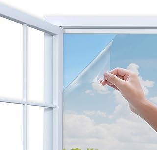 Rhodesy Mirror Window Film, One Way Mirror Adhesive Window Film, Anti UV Heat Control Sun Blocker, Privacy Protection Glass Decorative Film, 90 x 200 cm(35.4 x78.7 Inch), Silver