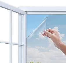 Rhodesy One Way Window Film, Anti UV Heat Control Static Cling Privacy Window Film Decorative Removable Window Tint Sun Blocking, 17.5 x 78.7 Inch, Silver