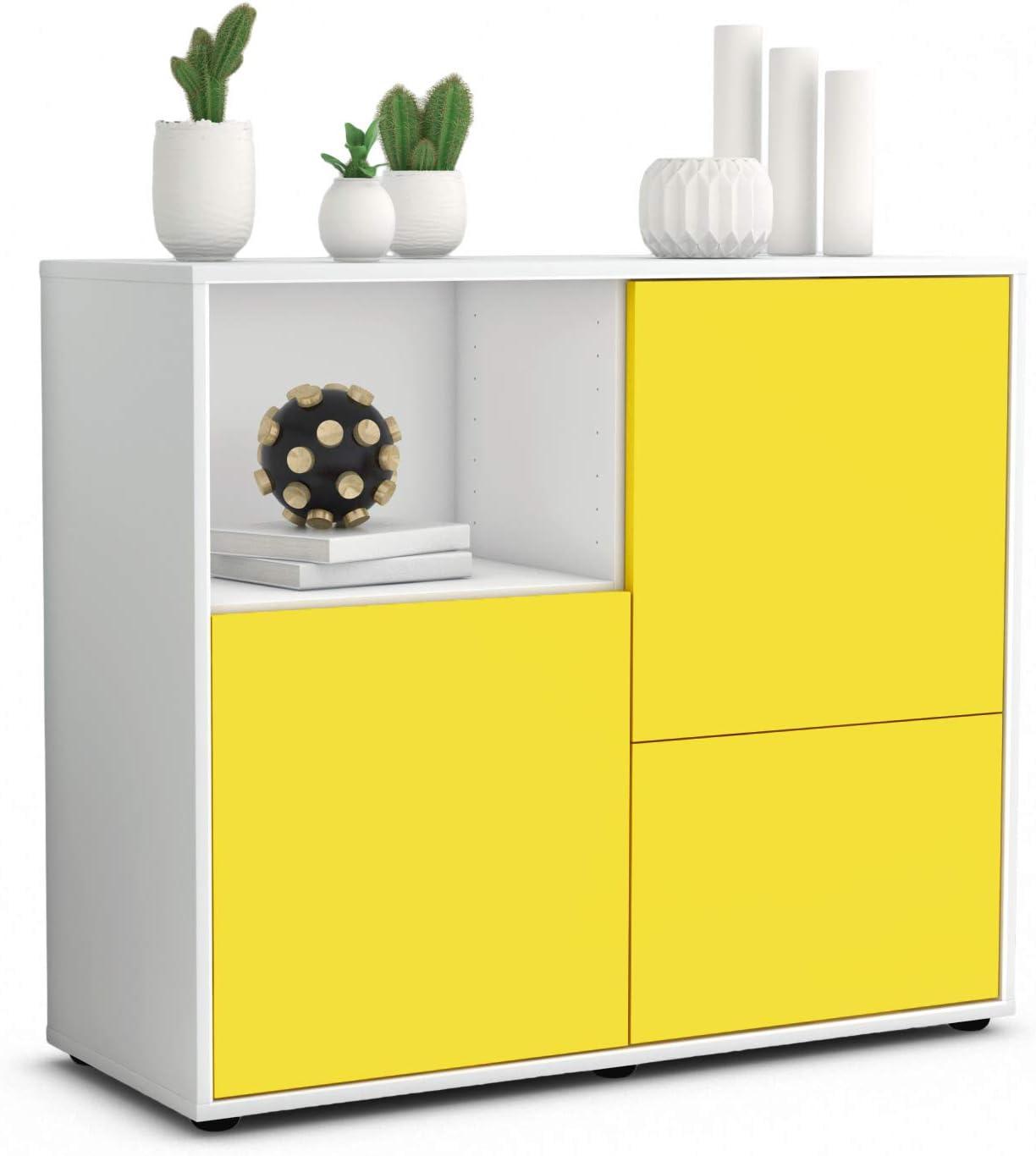 Stil.Zeit Sideboard Carina//Korpus Weiss matt//Front Lagunenblau 92x79x35cm Push-to-Open Technik