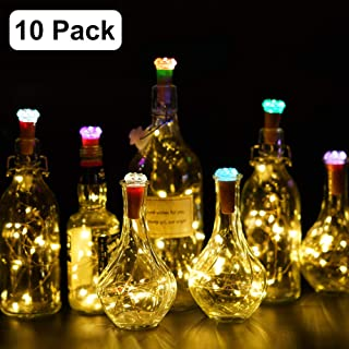 KVK Wine Bottle Lights with Cork, Warm White 10 Pack Battery Operated Color Changing Diamond Cork, Copper Wire Fairy Mini String Lights for DIY, Party, Decor, Christmas, Halloween,Wedding
