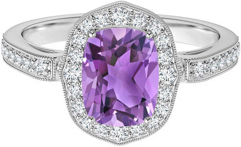Shine High quality new Jewel Art Deco 7X5MM Cushion Accent Charlotte Mall Amethyst Side Gemstone