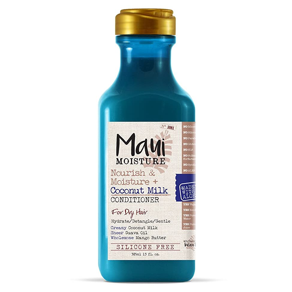 Maui Moisture Nourish & Moisture + Coconut Milk Conditioner, 13 Ounce, Lightweight for Daily Use Without Product Build-Up, Silicone Free Conditioner with Coconut Milk and Guava Oil