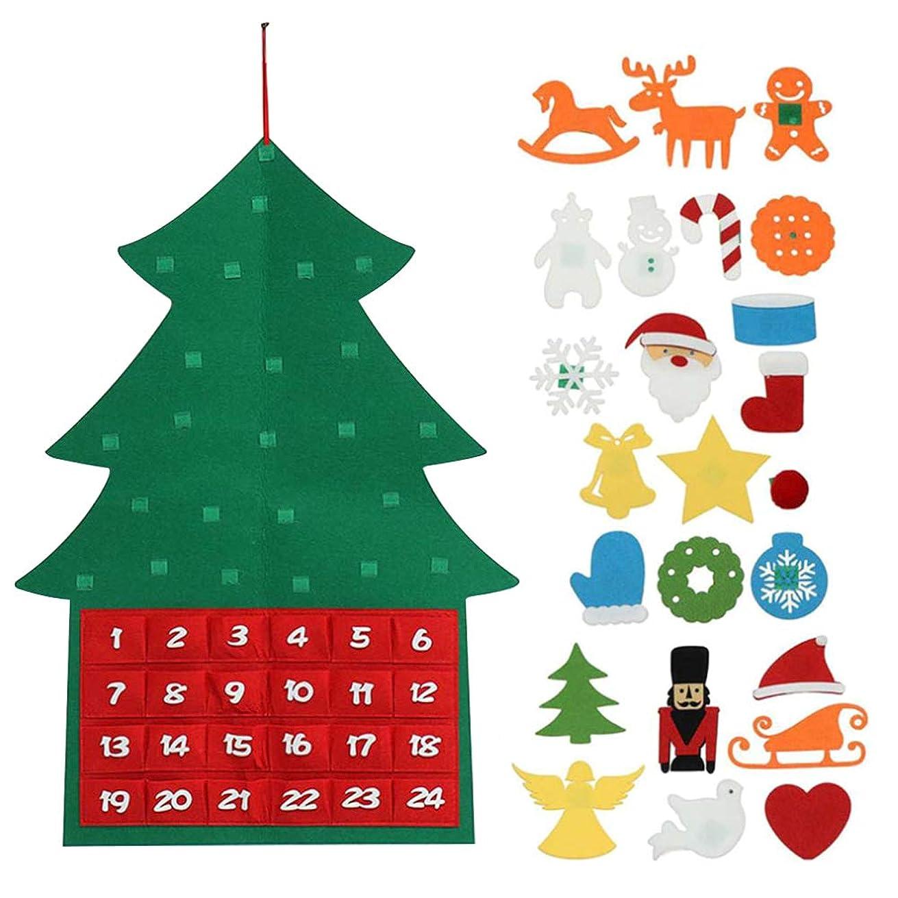 風が強い土曜日一節GerTong クリスマス飾り クリスマスツリー DIY 壁掛け 手作り 24点セット 取り外し可能 カレンダー カウントダウン 1から24まで 子供 知育おもちゃ 幼稚園 保育園 デコレーション 90x60㎝