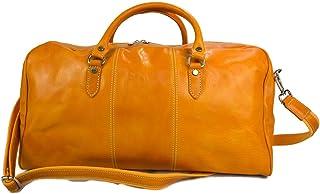 Duffle Bag Genuine Leather Yellow Shoulder Bag Travel Gym Bag Luggage Duffle