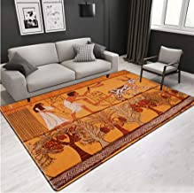 Living Room Rug Egyptian Culture Large Carpet Retro Nordic Ethnic Wind Floor Mat Non-Slip Washable Carpet Bedroom Next to ...