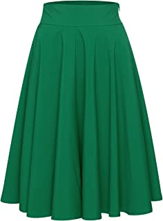 Womens Casual High Waisted A-line Midi Skirt with Plus Size (Black/White/Blue/Pink/Green)