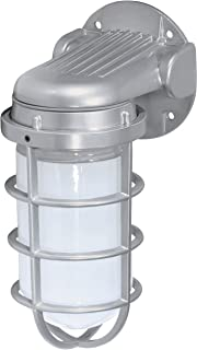 Nuvo Lighting SF76/622 Industrial Style Large Heavy Duty Aluminum Durable Outdoor Wall Mount Porch and Patio Light with Frosted Glass, Metallic Silver