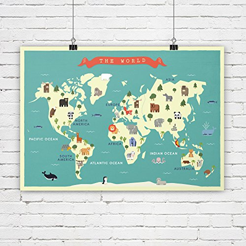 Nursery world map, Animals map, Map for nursey, Map for children, Map art print, Continents map, Travel theme nursery, World map poster