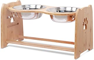X-ZONE PET Raised Pet Bowls for Cats and Dogs, Adjustable Bamboo Elevated Dog Cat Food and Water Bowls Stand Feeder with 2...