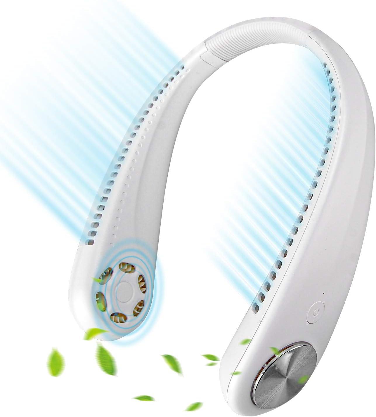 Leipple Neck Fan Portable - Bladeless Handsfree Sport Fan Wearable USB Fan - Rechargeable Neckband Personal Fan for Travel,Office, with Leafless,Headphone Design (White)