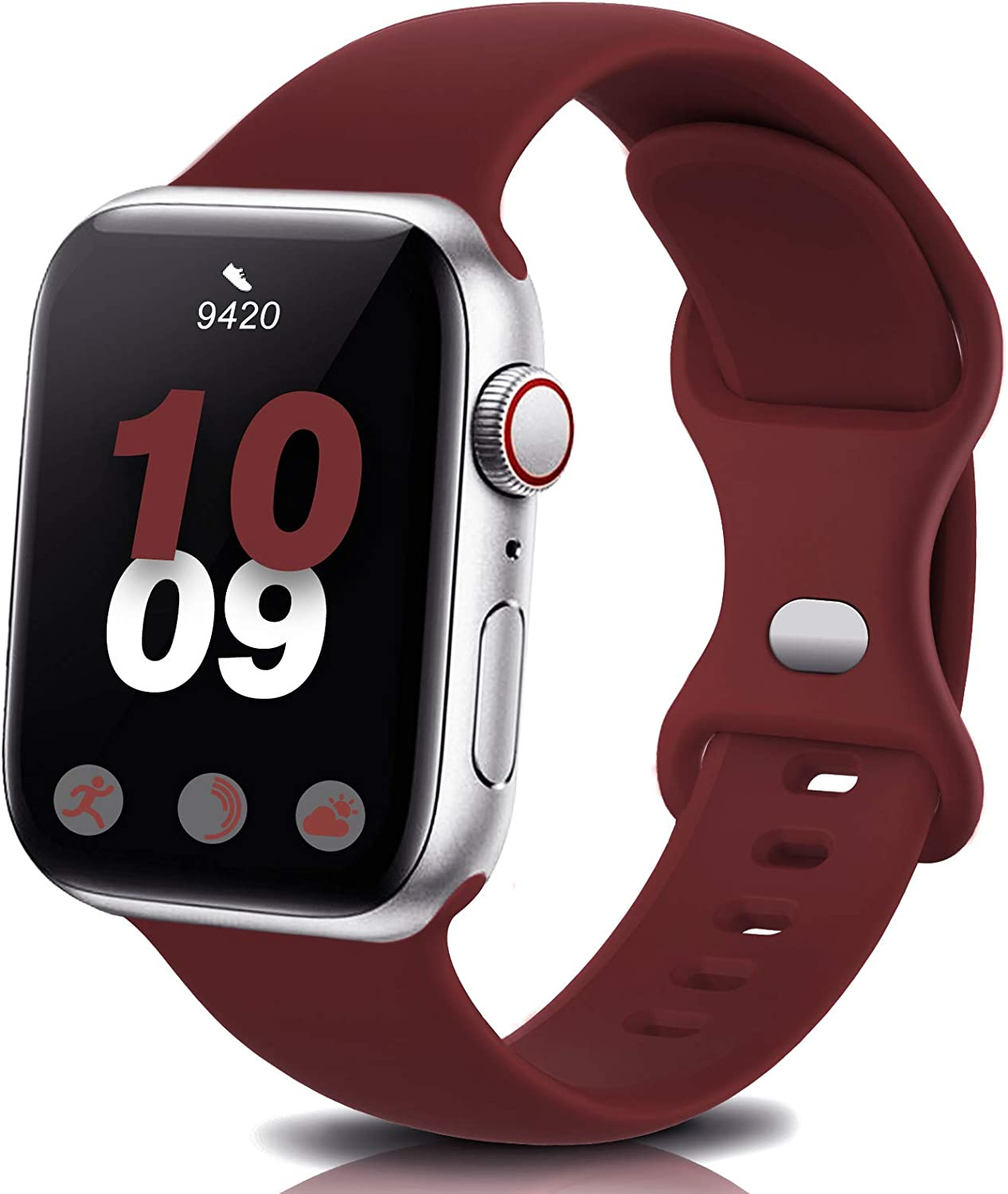 Coinit Sport Band Compatible with Apple Watch Bands 38mm 40mm 42mm 44mm, Soft Silicone Replacement Wristband Compatible with iWatch Series 6 5 4 3 2 1 Women Men Wine Red 38mm/40mm S/M