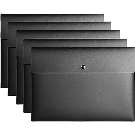VANRA™ Snap Folder Plastic Envelope File Folder Organizer Pocket Document Letter A4 Letter Size Button Closure Office Waterproof 5 Pack 4 Colors