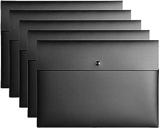 VANRA Poly File Folder Pockets File Jacket Plastic Envelope Flat Document Letter Organizer with Snap Button Closure A4 Let...
