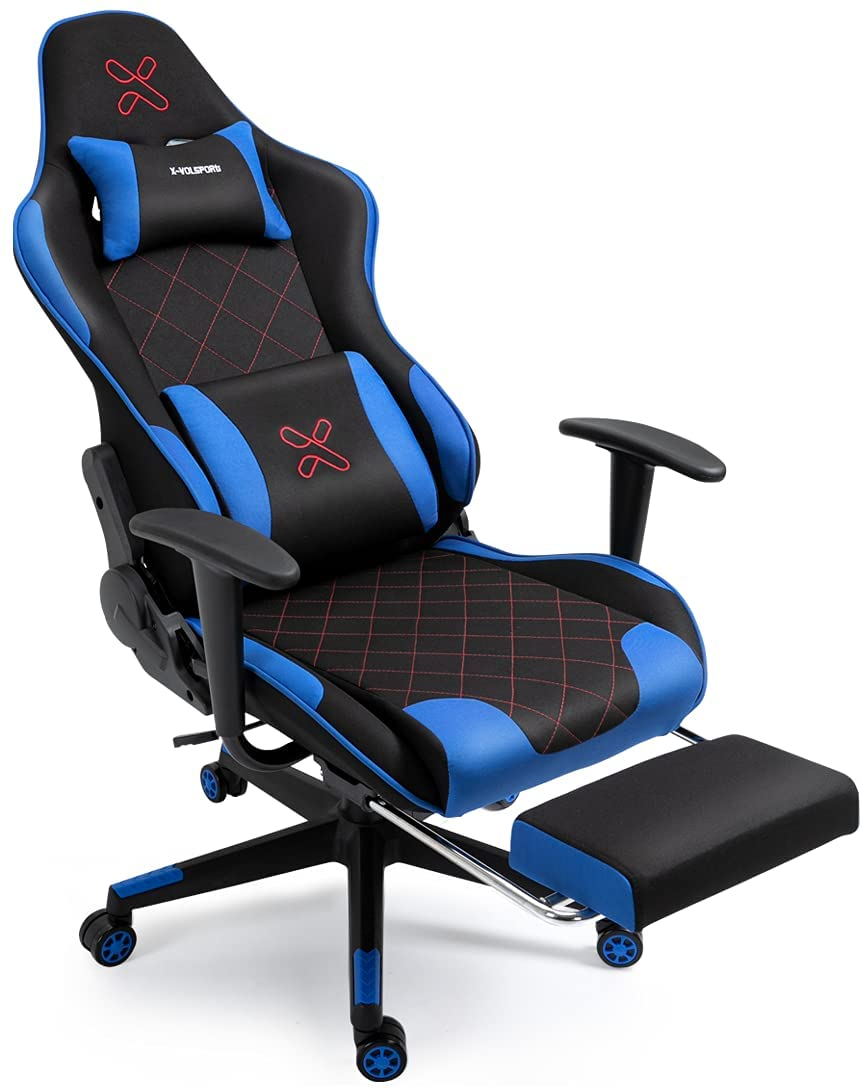 X-VOLSPORT Computer Chair Gaming Chair Office High Back Chair with Footrest, Racing Style Fabric Ergonomic Video Game Chair with Headrest and Lumbar Massage