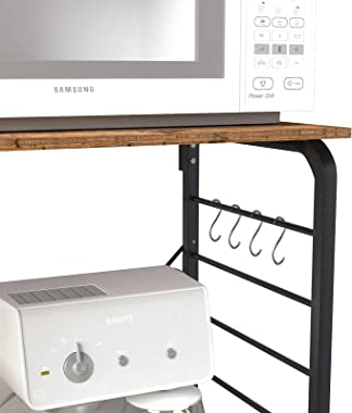 sogesfurniture Kitchen Baker's Rack Utility Microwave Oven Stand Storage Cart Workstation Shelf,BHUS-172 (Rustic Brown)