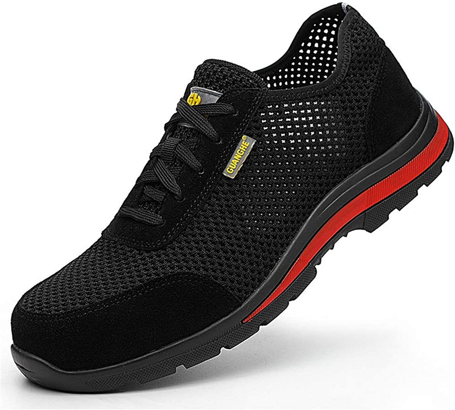 Qiusa Mens Safety shoes Hollow out Breathable Non Slip Composite Steeel Toe shoes (color   Black, Size   UK 8)