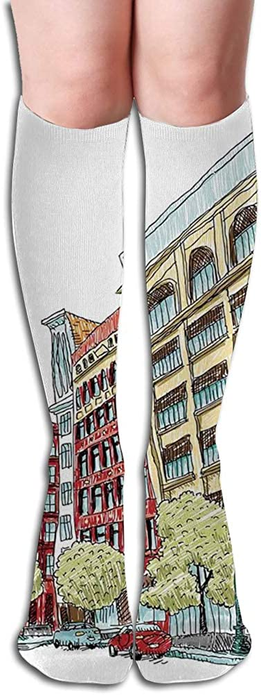 Men's and Women's Funny Casual Combed Cotton Socks,Grunge Graphic of European Avenue Modern Urban Life Downtown City Streets