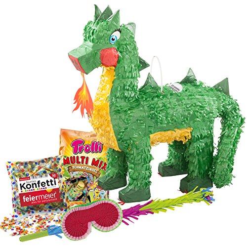 PartyMarty Pinata-Set: Pinata Feuerspeiender Drache + Schläger + Maske + Trolli Süßigkeiten-Füllung + Konfetti GmbH®