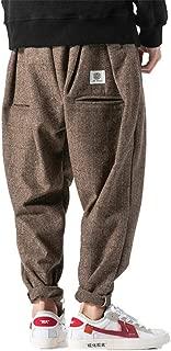 Chinese Style Thick Wool Pants Men Japanese Streetwear Plaid Harem Pants Men Trousers Hip Hop Joggers Men Pants