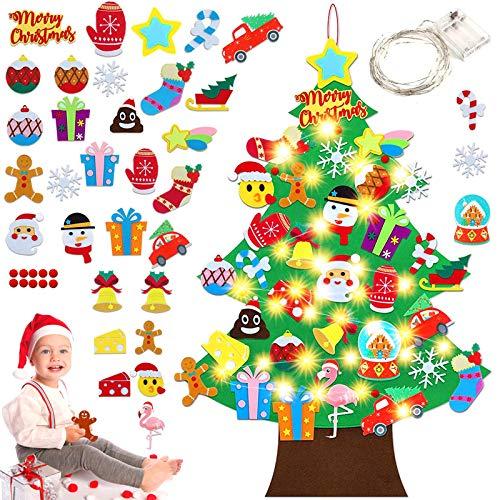 Arbol de Navidad de Fieltro,Arbol de Navidad Calendario de adviento,arbol de Navidad de Fieltro DIY,Felt Christmas Tree,arbol de Fieltro Navidad Regalo para Niños (A) (Flamenco)