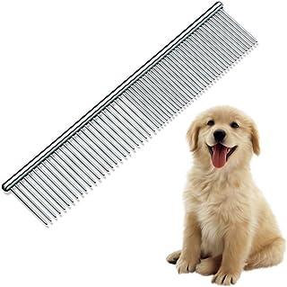 犬の櫛ペット美容ブラシ猫子犬グレイハウンドミディアム/ラフファーイージーグリップコームと異なるスペースラウンドステンレススチールティース - シルバー