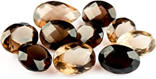 Jaguar Gems Smokey Quartz Gemstone Facated Cut Stone DIY-Jewelry Making Specimen Chakra Healing Crystals Natural Loose Gemstones Supplies, Smokey Quartz Crystals and Gemstones Pack of 10 Pieces