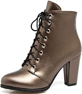 Veveca Women Solid Pointed Toe Martin Boots Lace-Up Chunky Heel Ankle Boots Round Toe High Heel Shoes